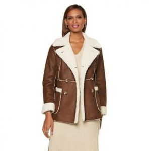 Serena Williams reversible faux shearling pea coat